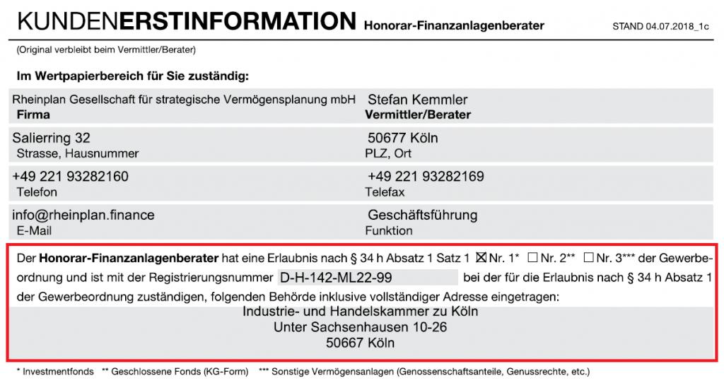 Kundenerstinformation Finanzanlagenberater