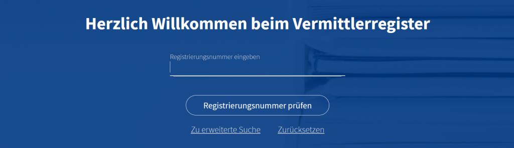 Vermittlerregister Registriernummer Eingabe